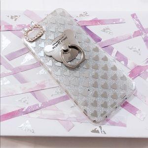 iPhone 6 Silver Glitter Bear Ring Hearts Case